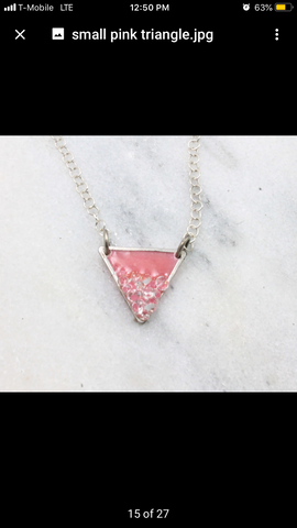 Tiny pink triangle pendant