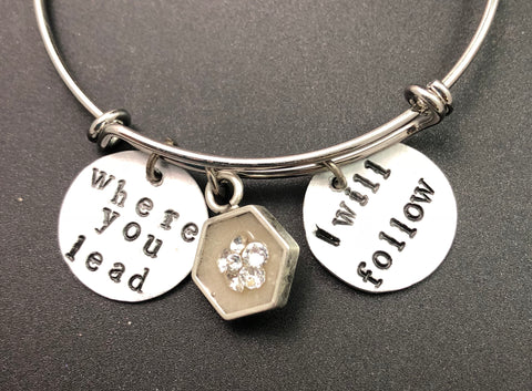 Where you lead I will follow adjustable bangle bracelet, enamel and crystal accent- silver tone