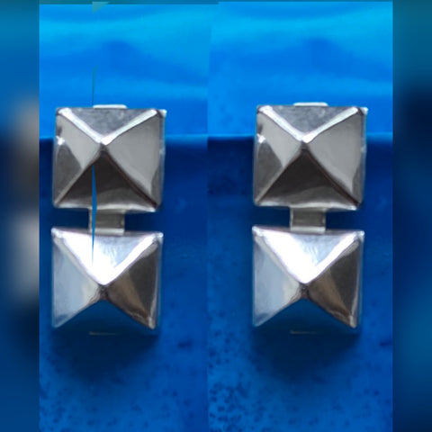 Double pyramid grommet post Sterling silver