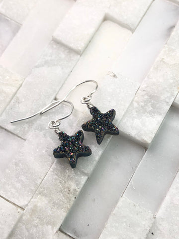 Black druzy star earrings