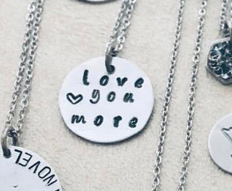 Love you more stamped charm
