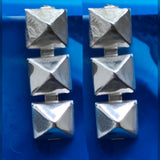 Triple pyramid grommet post Sterling silver