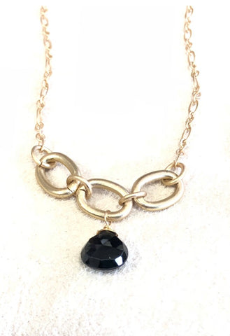 Elegant 3 link with gemstone briolette necklace