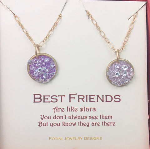Best friends are like stars- stardust necklace set of 2 stars, set of 2 necklaces