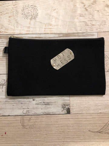 Pouch- black canvas- hot mess
