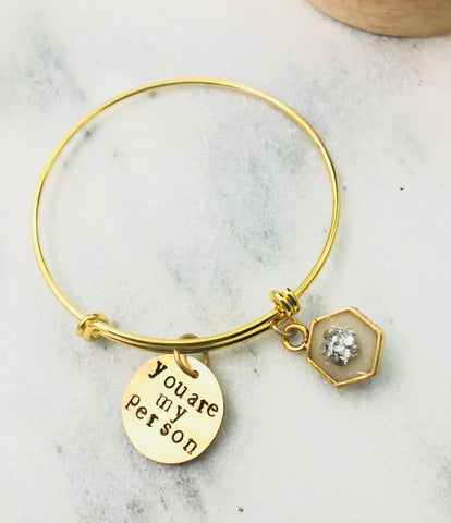"""You are my person""- adjustable bar bangle bracelet, enamel and crystal accent- gold tone"