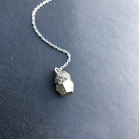 Small pyrite nugget pendant. Y- lariat necklace