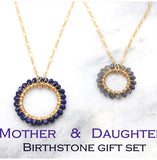 Mother daughter birthstone circle pendant. Necklace set of 2