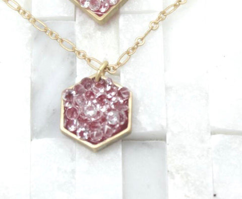 Medium hexagon stardust pendant