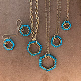 Hexagon turquoise hoop earrings gold plate