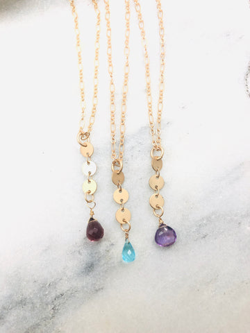 Coin chain with gemstone briolette necklace gold
