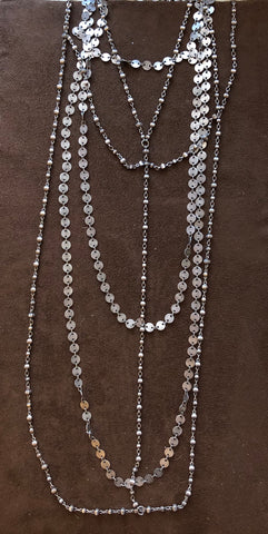 Silver antiqued Moroccan chain. Layered necklaces