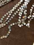 Silver antiqued sequin chain. Layered necklaces