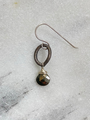 Earring matte gunmetal on single link. Pyrite-flash sale