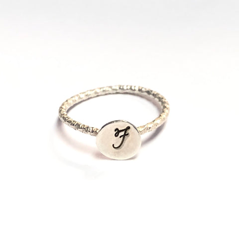 Monogram ring. Sterling silver