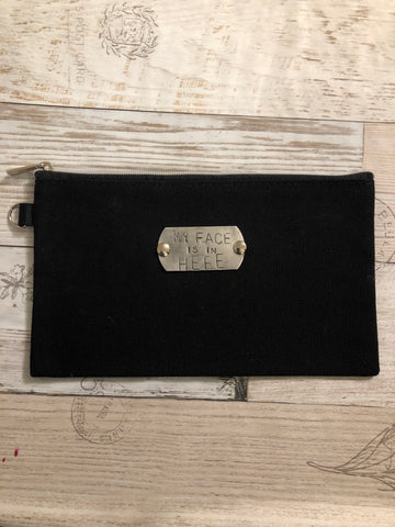Pouch- black canvas- my face is in here