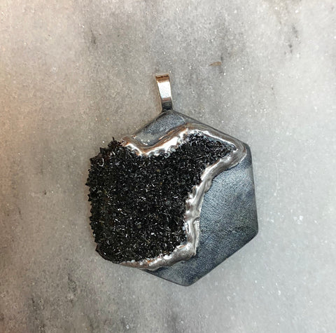 one of a kind- Black Spinel druzy HEXAGON pendant purple