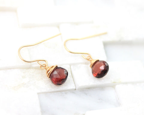 Single stone garnet earrings