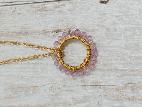 Birthstone pendant small light pink amethyst