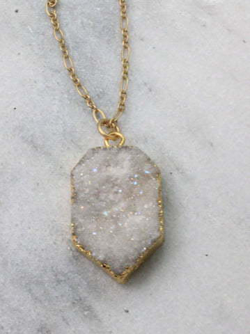 White druzy hexagon