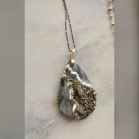 one of a kind- pyrite druzy drop pendant large