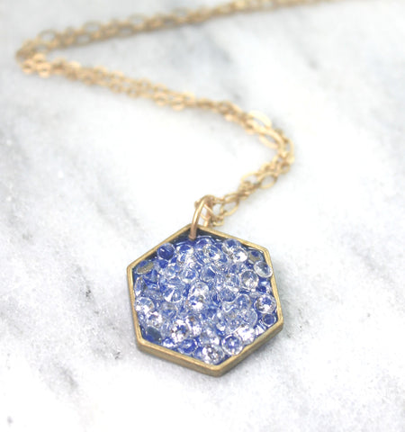 Large hexagon stardust pendant enamel and crystal