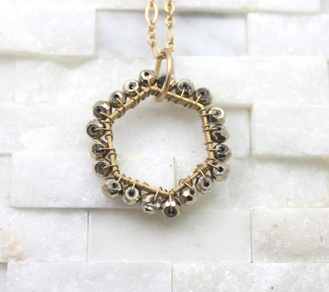 Pyrite layering necklace large hexagon