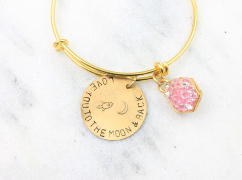 love you to the moon and back bar bracelet gold tone