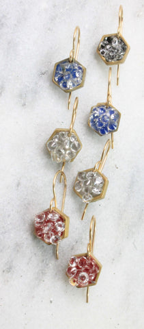 Tiny hexagon dangle stardust earrings
