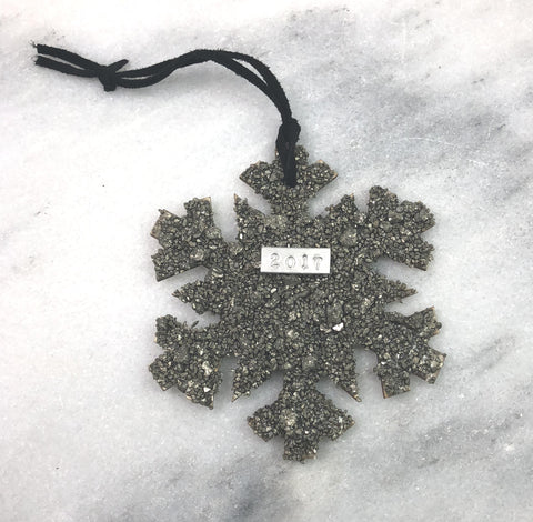 one of a kind christmas ornament, crushed pyrite snowflake