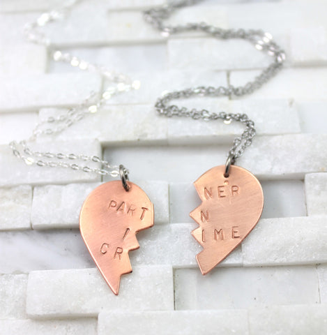 "bff necklace set- ""partner in crime"""