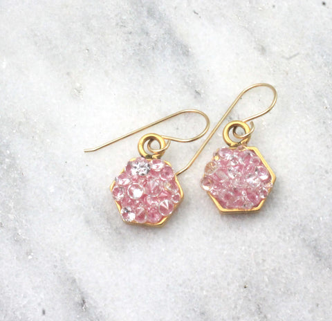 pink hexagon earrings small -