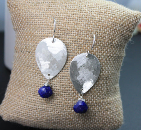 Drop silver and gemstone sterling silver earrings