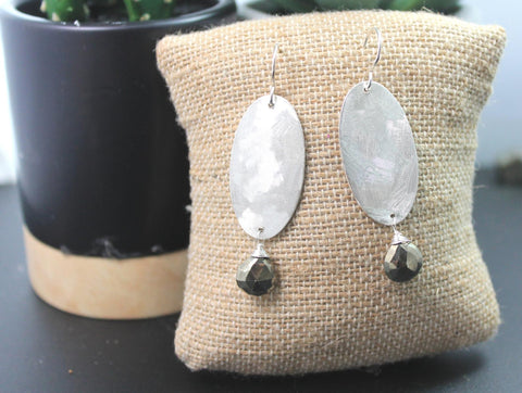 Drop oval silver and gemstone sterling silver earrings