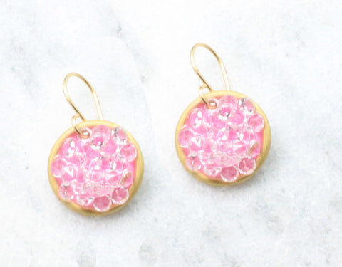 pink Circle earrings small - flash sale