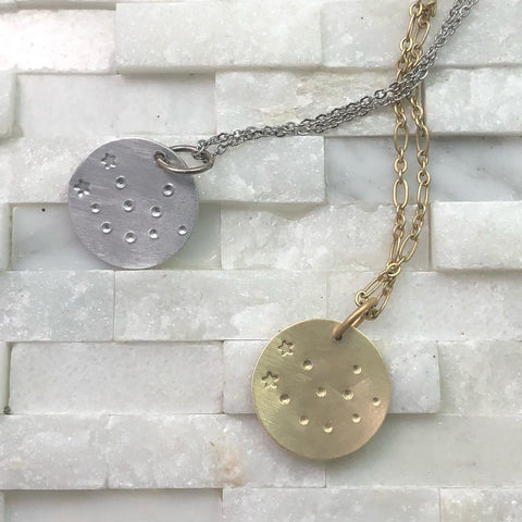 Simple dainty zodiac constellation pendant, stamped