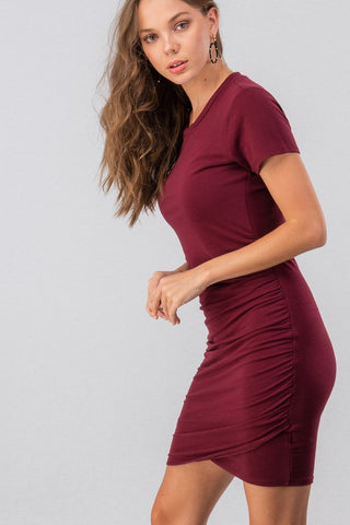 Ruched Solid Short SLeeve Mini Dress