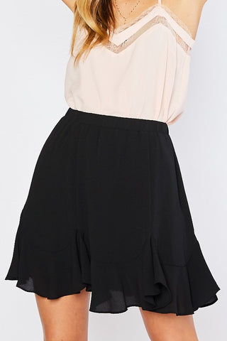 Godet Pleat Mini Skirt
