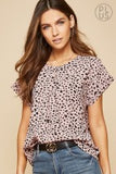 Leopard Tulip Sleeve Top