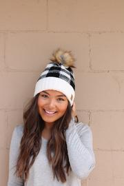 Plaid Kit Hat with Pom Pom