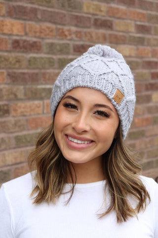Grey Fleece Knitted Hat With Pom Aceent