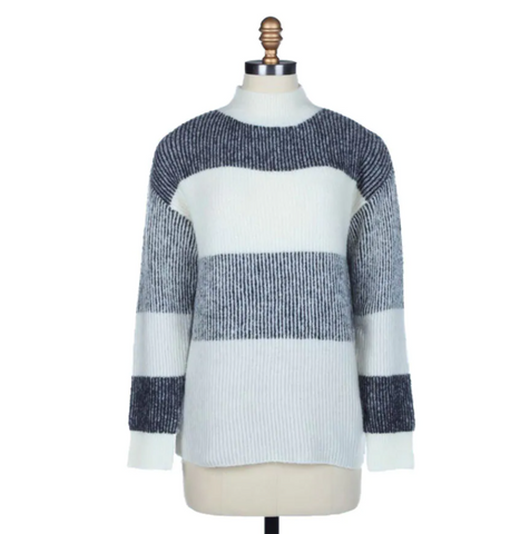 Ivory/Charcoal Mock Neck Sweater