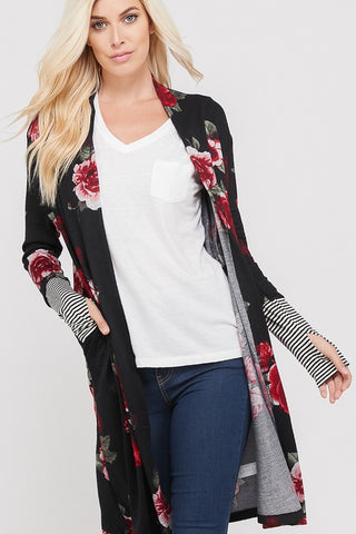 Floral and striped Cardigan
