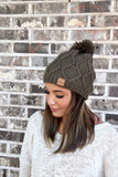 Olive Fleece Lined Knt Hat With Pom