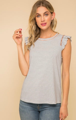 Striped Ruffle Sleeve Tank Top