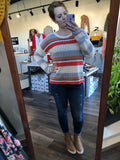 Multi Stripe Drop Sleeve Sweater Top