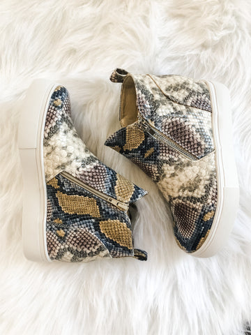 Multi Colored Snake Wedge Sneakers
