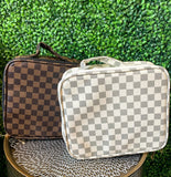 Checkered Cosmetic Bag