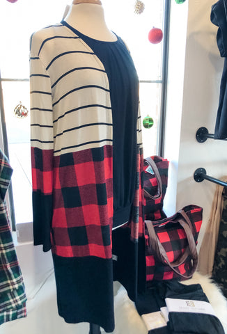 Color Block Buffalo Plaid Duster