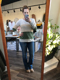 Olive Ivory and Oat Color Block Top